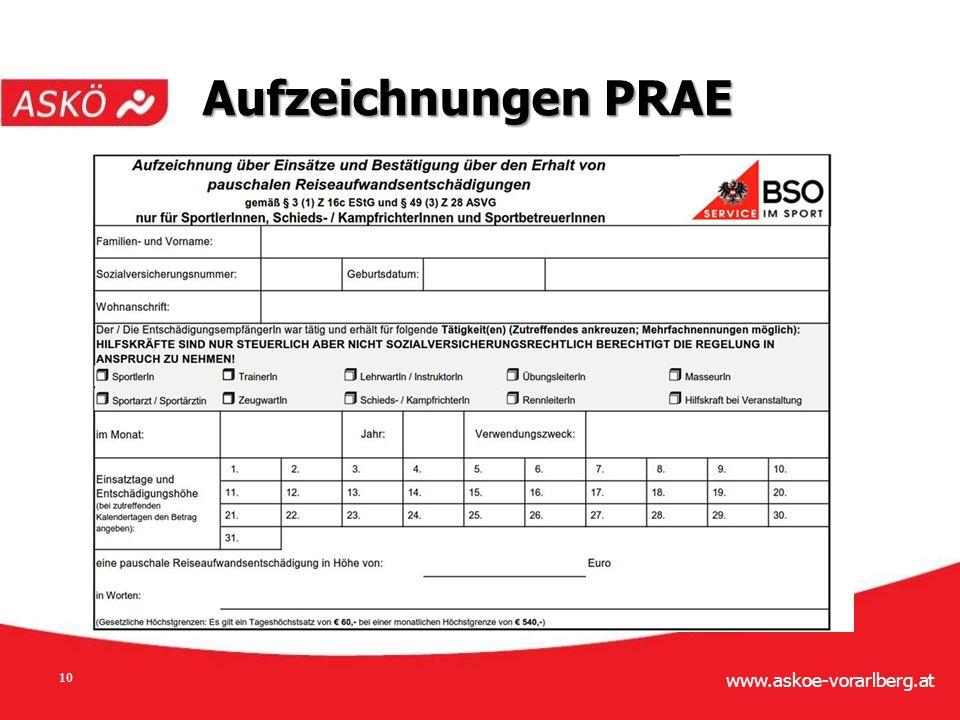 www.askoe-vorarlberg.at 10 Aufzeichnungen PRAE