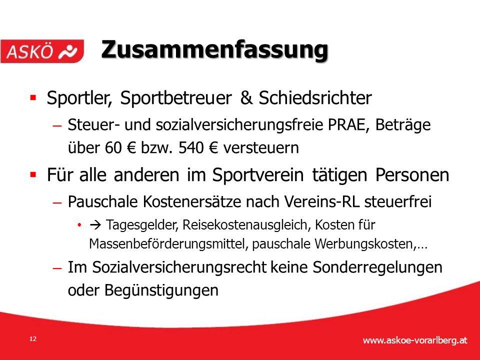 www.askoe-vorarlberg.at 12  Sportler, Sportbetreuer & Schiedsrichter – Steuer- und sozialversicherungsfreie PRAE, Beträge über 60 € bzw.