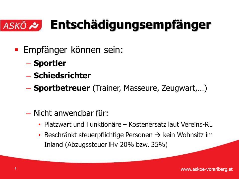 www.askoe-vorarlberg.at 15  Abgabenrechtliche Begünstigungen: – Körperschaftsteuer – Umsatzsteuer Vereinsbesteuerung
