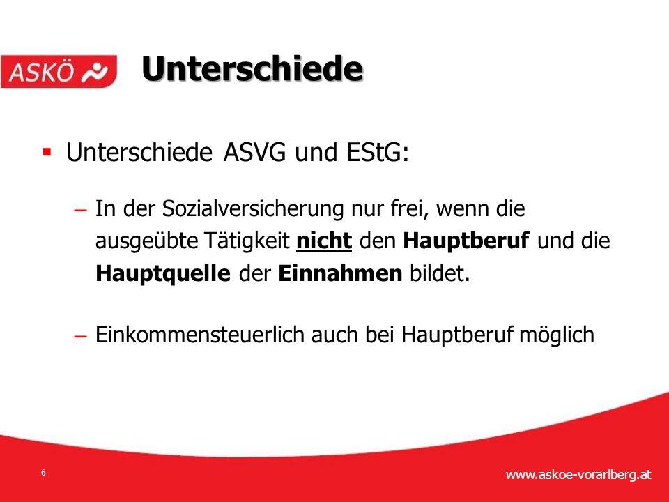 www.askoe-vorarlberg.at 6  Unterschiede ASVG und EStG: – In der Sozialversicherung nur frei, wenn die ausgeübte Tätigkeit nicht den Hauptberuf und die Hauptquelle der Einnahmen bildet.
