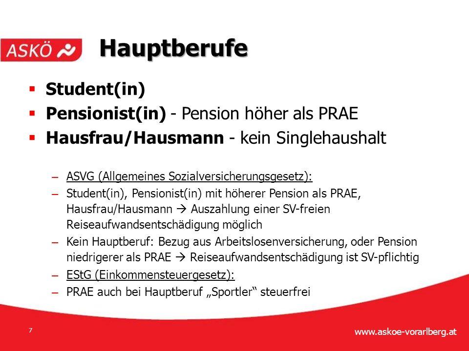 """www.askoe-vorarlberg.at 7  Student(in)  Pensionist(in) - Pension höher als PRAE  Hausfrau/Hausmann - kein Singlehaushalt – ASVG (Allgemeines Sozialversicherungsgesetz): – Student(in), Pensionist(in) mit höherer Pension als PRAE, Hausfrau/Hausmann  Auszahlung einer SV-freien Reiseaufwandsentschädigung möglich – Kein Hauptberuf: Bezug aus Arbeitslosenversicherung, oder Pension niedrigerer als PRAE  Reiseaufwandsentschädigung ist SV-pflichtig – EStG (Einkommensteuergesetz): – PRAE auch bei Hauptberuf """"Sportler steuerfrei Hauptberufe"""