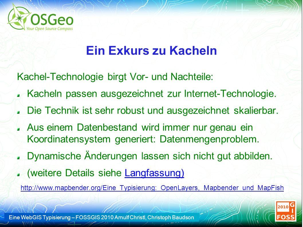 Eine WebGIS Typisierung – FOSSGIS 2010 Arnulf Christl, Christoph Baudson Ein Exkurs zu Kacheln Kachel-Technologie birgt Vor- und Nachteile: Kacheln pa