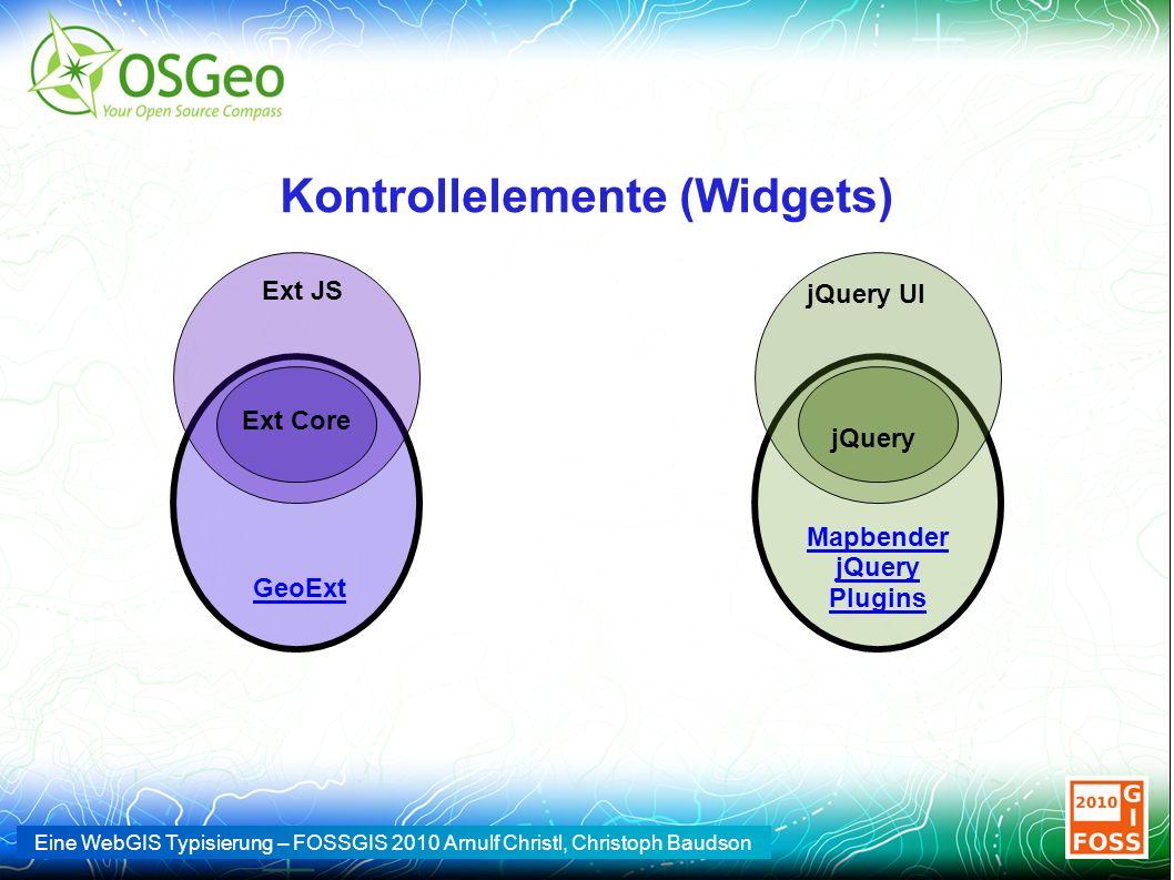 Eine WebGIS Typisierung – FOSSGIS 2010 Arnulf Christl, Christoph Baudson Kontrollelemente (Widgets) Ext Core Ext JS jQuery jQuery UI GeoExt Mapbender jQuery Plugins