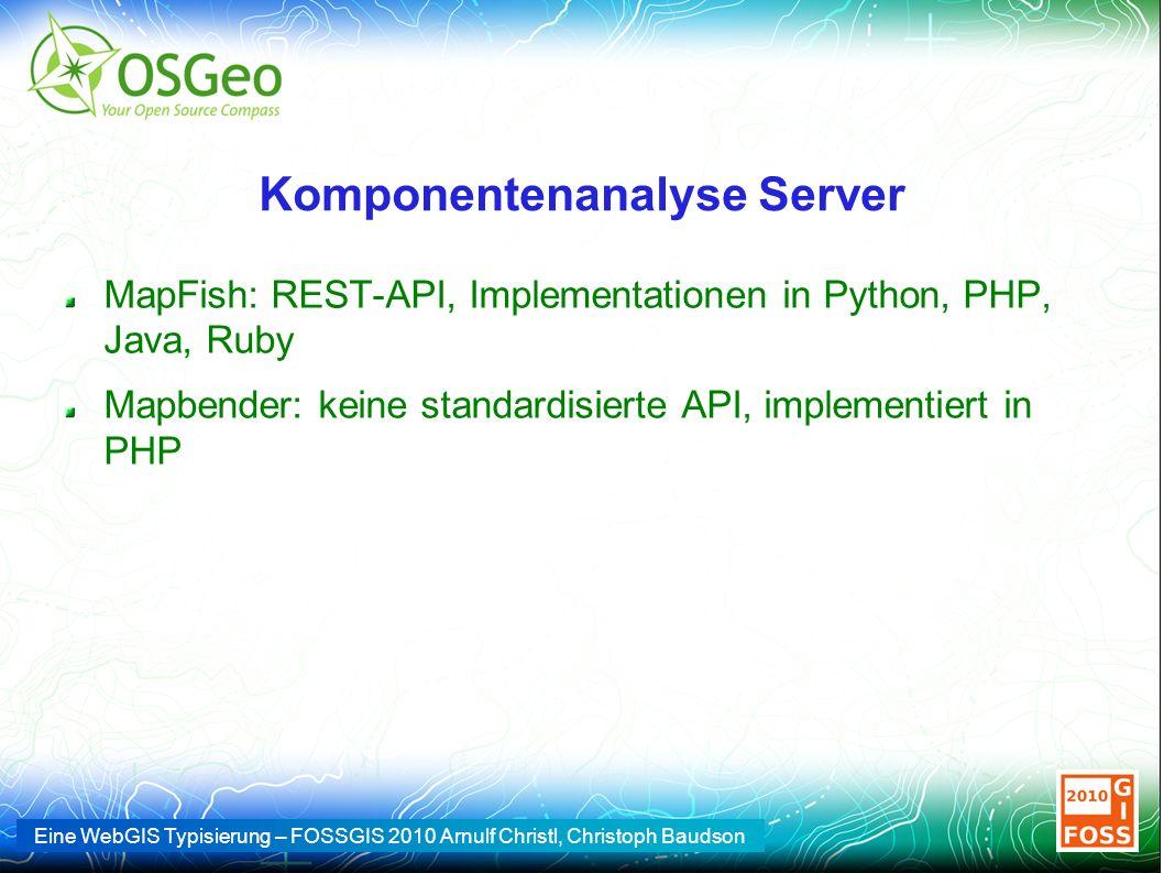 Eine WebGIS Typisierung – FOSSGIS 2010 Arnulf Christl, Christoph Baudson Komponentenanalyse Server MapFish: REST-API, Implementationen in Python, PHP,