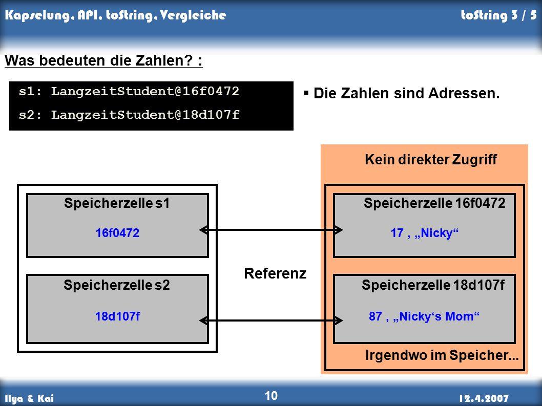 """Ilya & Kai12.4.2007 Kapselung, API, toString, Vergleiche 10 Kein direkter Zugriff 17, """"Nicky 87, """"Nicky's Mom Irgendwo im Speicher..."""