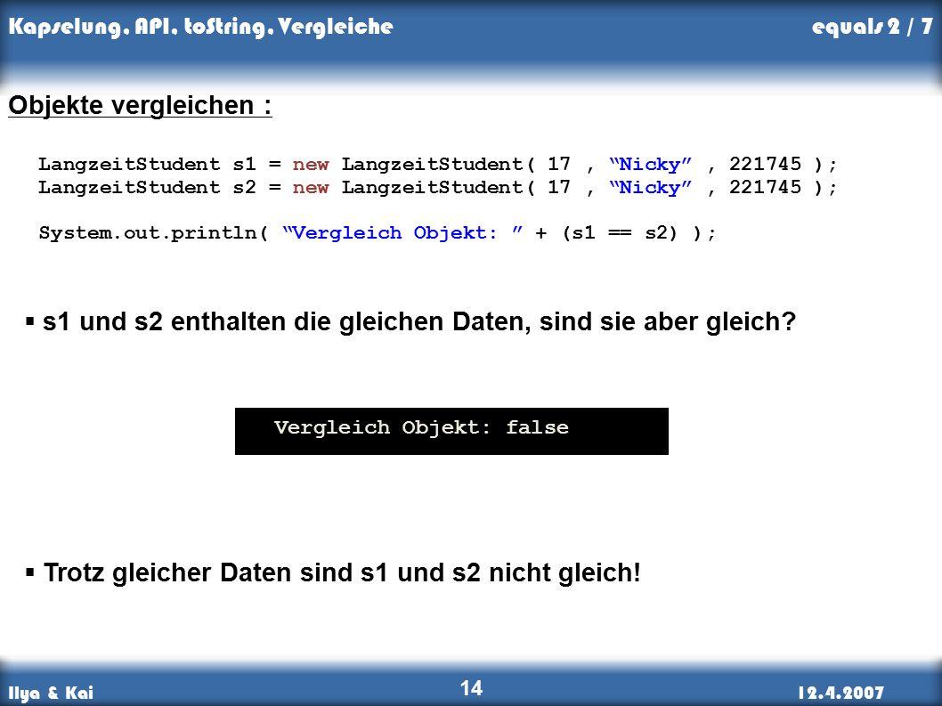 Ilya & Kai12.4.2007 Kapselung, API, toString, Vergleiche 14 Objekte vergleichen : LangzeitStudent s1 = new LangzeitStudent( 17, Nicky , 221745 ); LangzeitStudent s2 = new LangzeitStudent( 17, Nicky , 221745 ); System.out.println( Vergleich Objekt: + (s1 == s2) );  s1 und s2 enthalten die gleichen Daten, sind sie aber gleich.