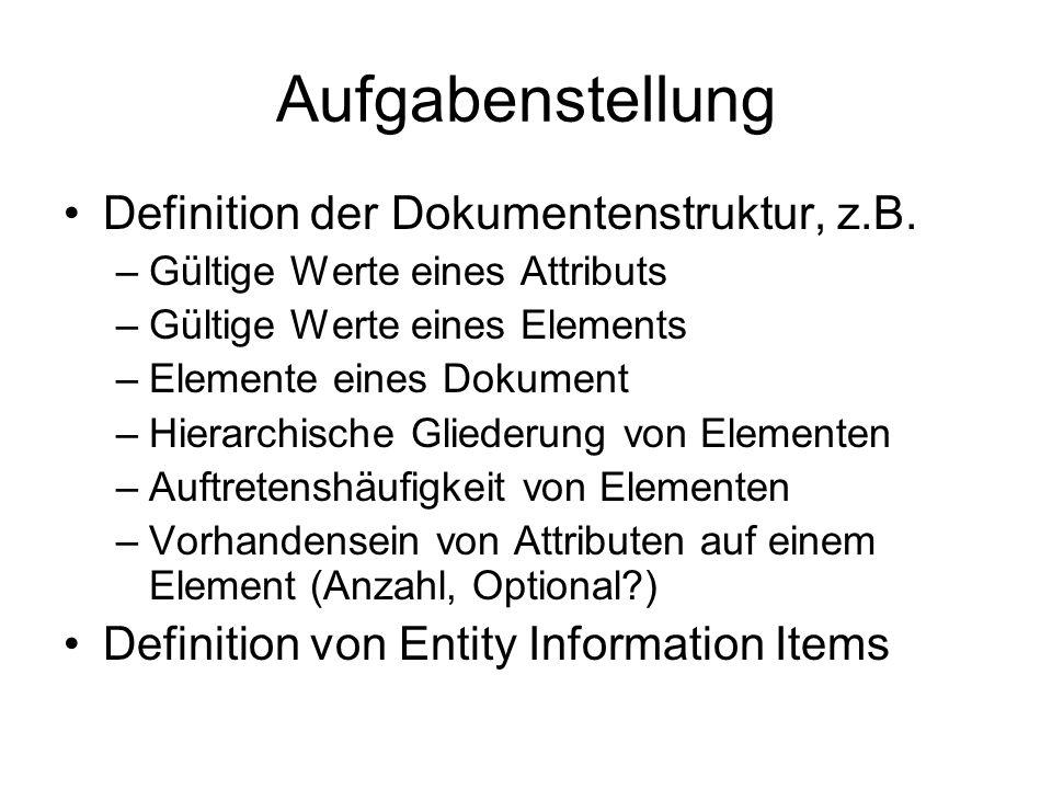 Aufgabenstellung Definition der Dokumentenstruktur, z.B. –Gültige Werte eines Attributs –Gültige Werte eines Elements –Elemente eines Dokument –Hierar