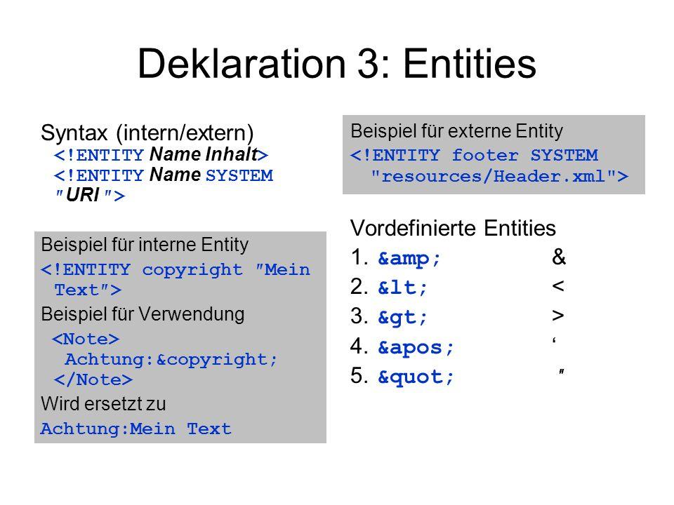 Deklaration 3: Entities Syntax (intern/extern) Beispiel für interne Entity Beispiel für Verwendung Achtung:&copyright; Wird ersetzt zu Achtung:Mein Text Beispiel für externe Entity Vordefinierte Entities 1.
