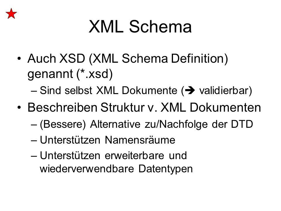XML Schema Auch XSD (XML Schema Definition) genannt (*.xsd) –Sind selbst XML Dokumente (  validierbar) Beschreiben Struktur v. XML Dokumenten –(Besse