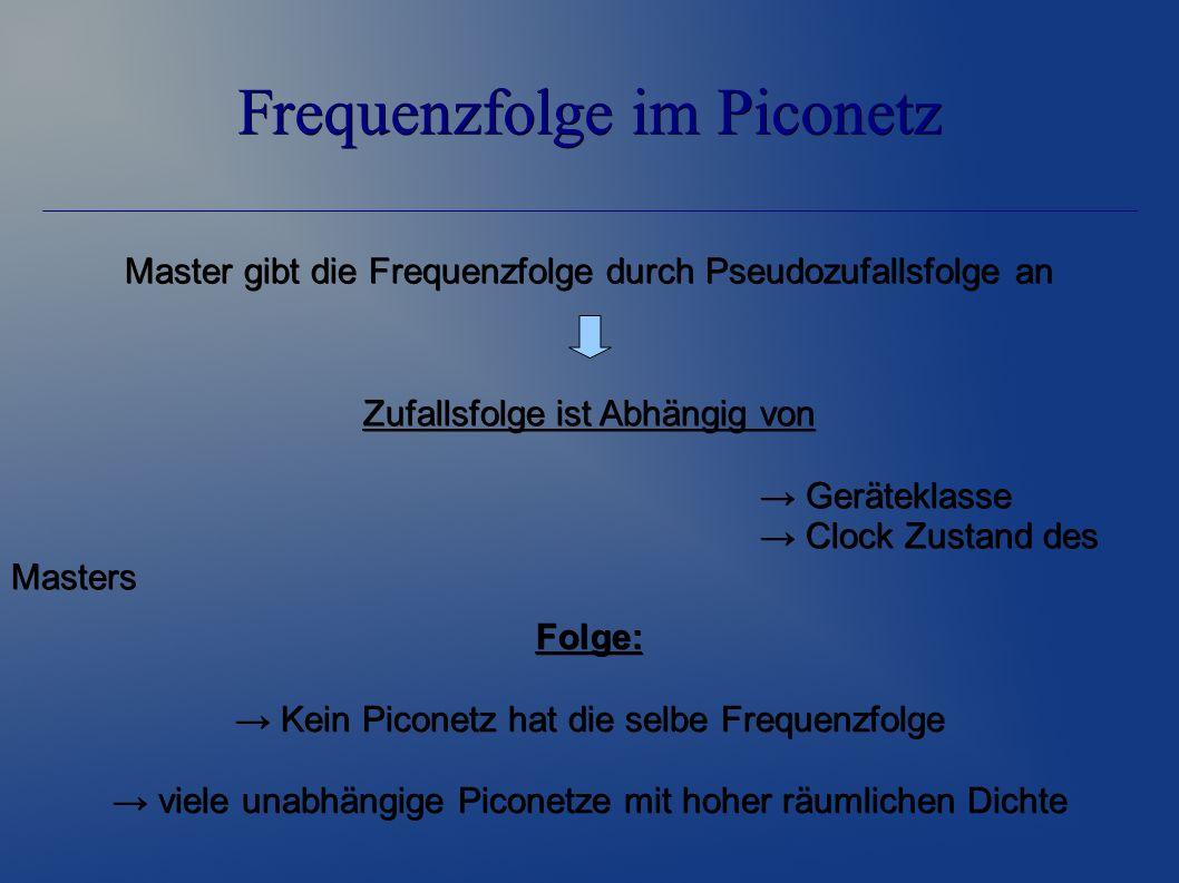 Frequenzfolge im Piconetz Zufallsfolge ist Abhängig von → Geräteklasse → Clock Zustand des Masters Master gibt die Frequenzfolge durch Pseudozufallsfolge an Folge: → Kein Piconetz hat die selbe Frequenzfolge → viele unabhängige Piconetze mit hoher räumlichen Dichte