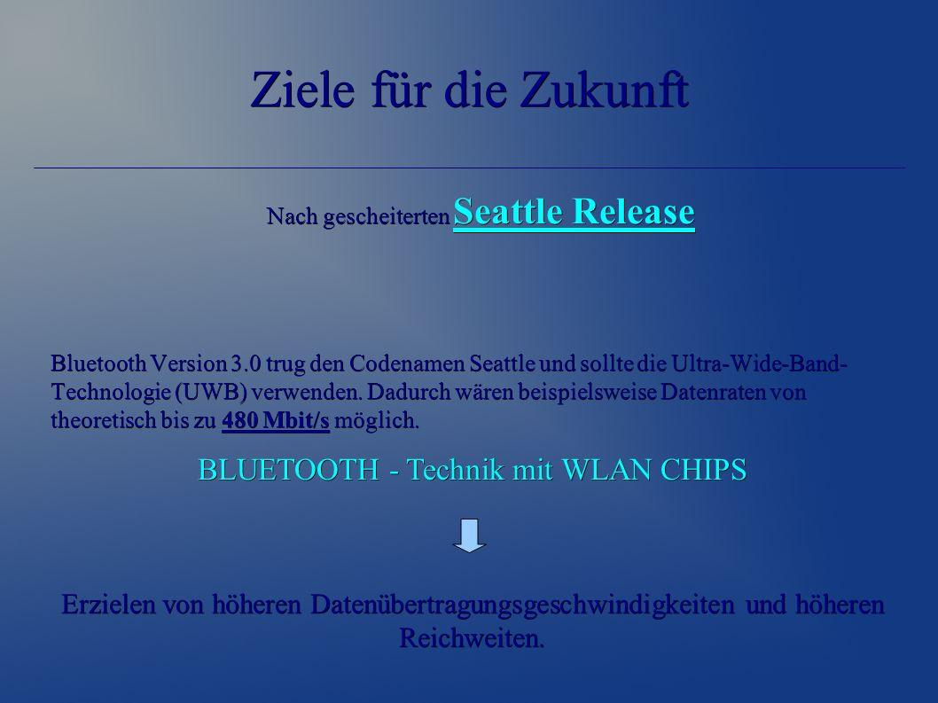 Ziele für die Zukunft Nach gescheiterten Seattle Release Nach gescheiterten Seattle Release Bluetooth Version 3.0 trug den Codenamen Seattle und sollte die Ultra-Wide-Band- Technologie (UWB) verwenden.