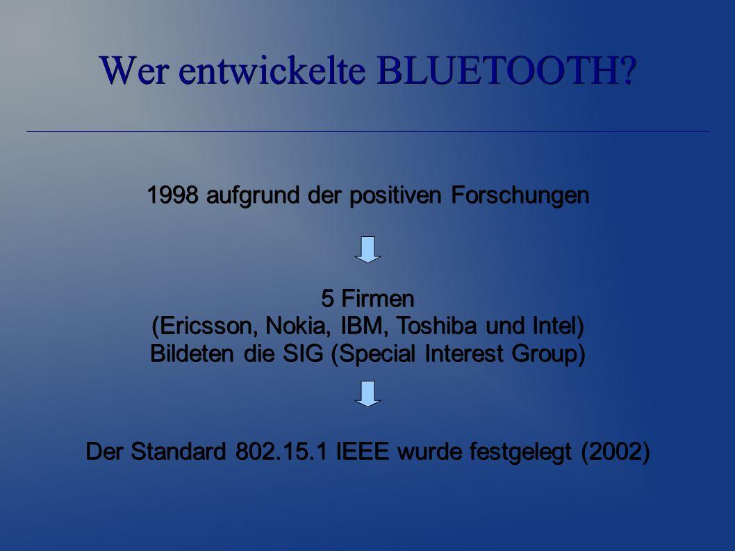 Wer entwickelte BLUETOOTH? 1998 aufgrund der positiven Forschungen Der Standard 802.15.1 IEEE wurde festgelegt (2002) 5 Firmen (Ericsson, Nokia, IBM,