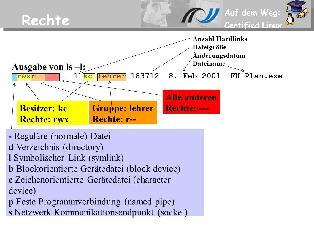 Auf dem Weg: Certified Linux Rechte Ausgabe von ls –l: -rwxr----- 1 kc lehrer 183712 8.