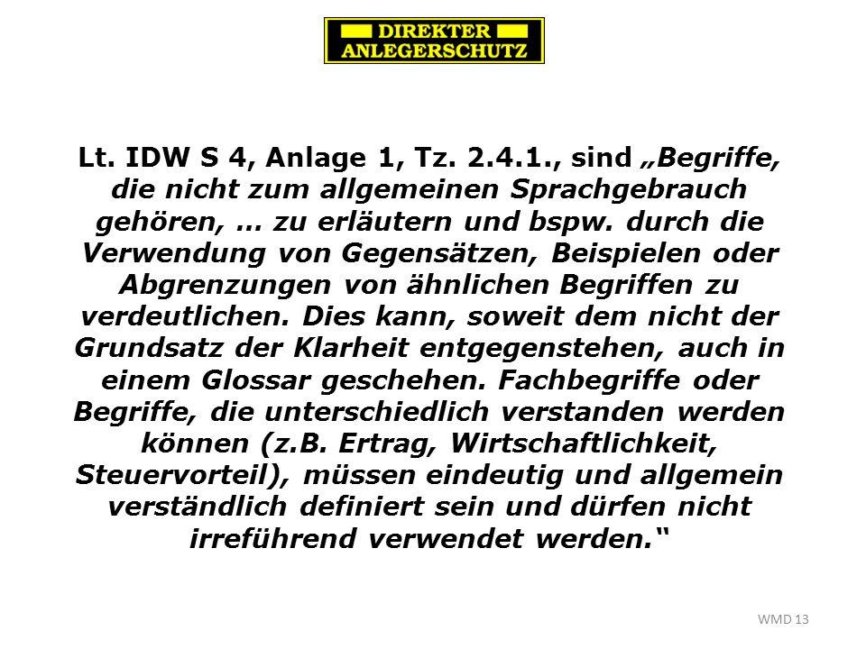WMD 13 Lt. IDW S 4, Anlage 1, Tz.