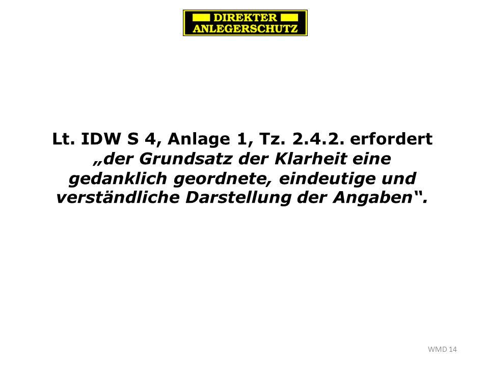 WMD 14 Lt. IDW S 4, Anlage 1, Tz. 2.4.2.