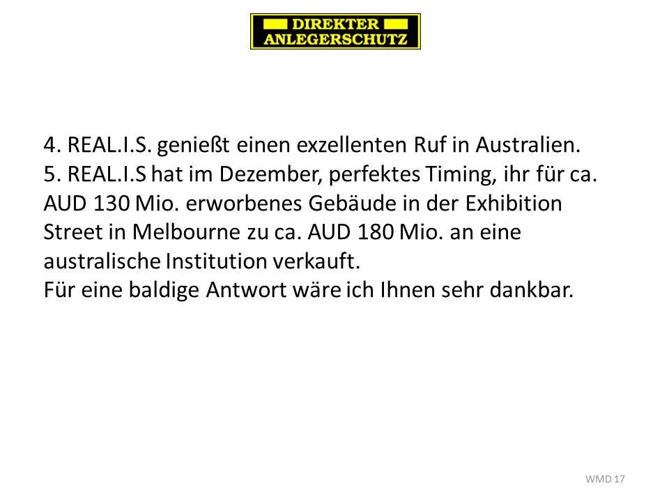 WMD 17 4. REAL.I.S. genießt einen exzellenten Ruf in Australien.