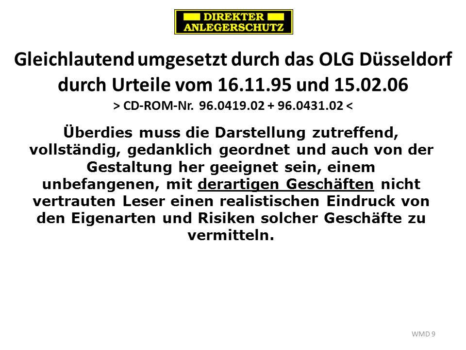 Gleichlautend umgesetzt durch das OLG Düsseldorf WMD 9 durch Urteile vom 16.11.95 und 15.02.06 > CD-ROM-Nr.