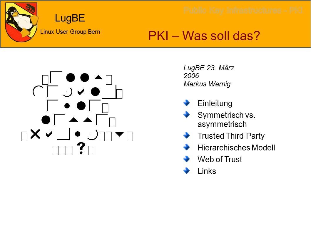 LugBE Linux User Group Bern PKI – Was soll das. Einleitung Symmetrisch vs.