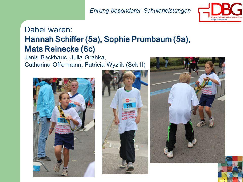 Ehrung besonderer Schülerleistungen Dabei waren: Hannah Schiffer (5a), Sophie Prumbaum (5a), Mats Reinecke (6c) Janis Backhaus, Julia Grahka, Catharina Offermann, Patricia Wyzlik (Sek II)
