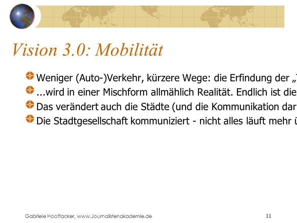 """Gabriele Hooffacker, www.Journalistenakademie.de 11 Vision 3.0: Mobilität Weniger (Auto-)Verkehr, kürzere Wege: die Erfindung der """"Tele-Arbeit (ca."""