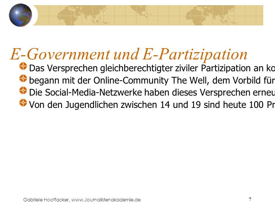 Gabriele Hooffacker, www.Journalistenakademie.de 7 E-Government und E-Partizipation Das Versprechen gleichberechtigter ziviler Partizipation an kommunalen Entscheidungsprozessen begann mit der Online-Community The Well, dem Vorbild für Howard Rheingolds Virtuelle Gemeinschaften (1994).