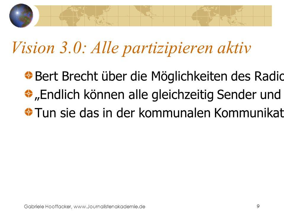 """Gabriele Hooffacker, www.Journalistenakademie.de 9 Vision 3.0: Alle partizipieren aktiv Bert Brecht über die Möglichkeiten des Radio-Apparats: """"Endlich können alle gleichzeitig Sender und Empfänger sein ."""