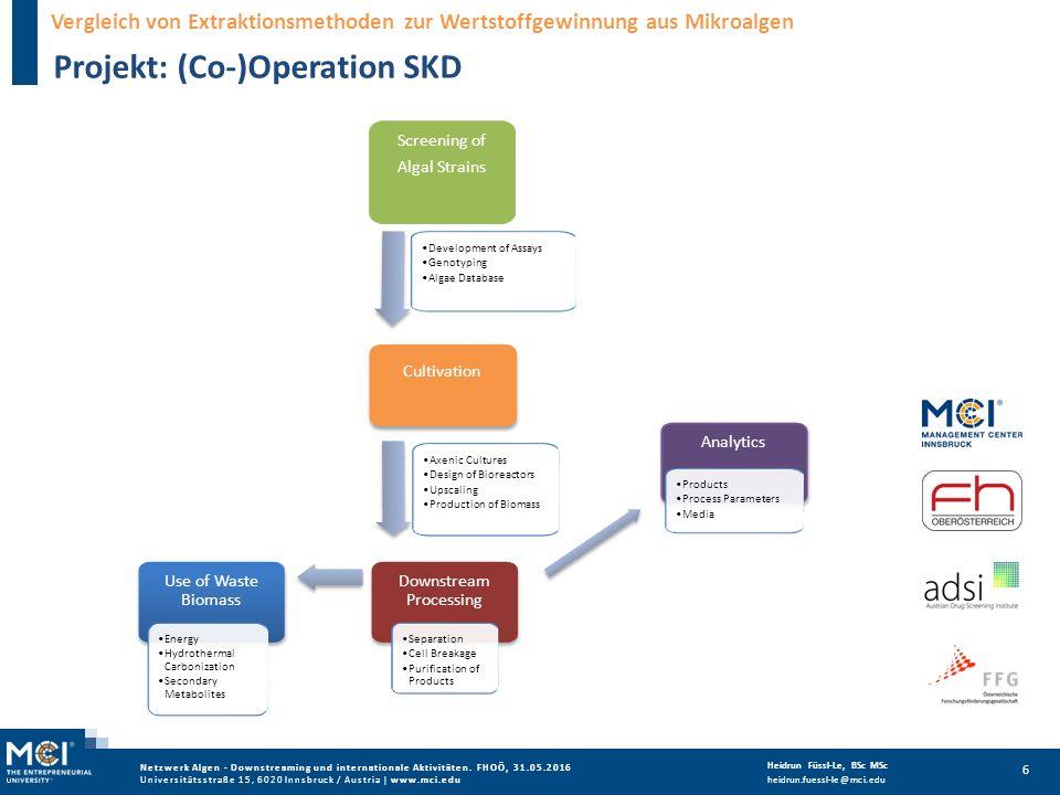 Netzwerk Algen - Downstreaming und internationale Aktivitäten.