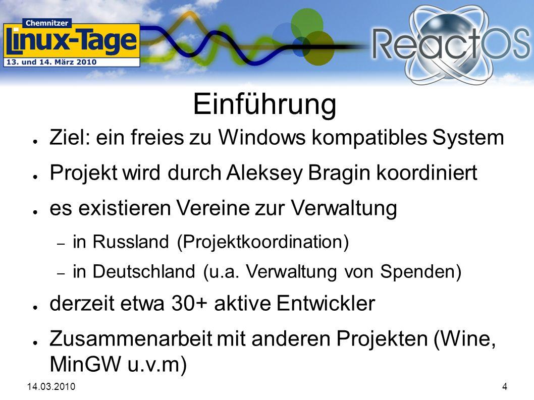 14.03.20104 Einführung ● Ziel: ein freies zu Windows kompatibles System ● Projekt wird durch Aleksey Bragin koordiniert ● es existieren Vereine zur Verwaltung – in Russland (Projektkoordination) – in Deutschland (u.a.