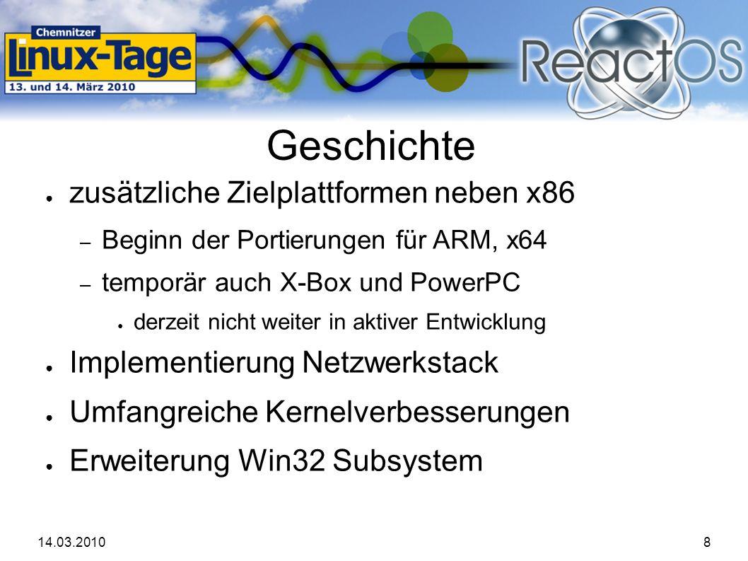 14.03.201019 Demonstration ● Build und Vorführung der CLT-2010 Version – Basis-Release ist 0.3.11 – allerdings mit grafisch animierten Bootscreen des nächsten Release – Vorführung am Stand auf realer Hardware, hier in virtueller Umgebung