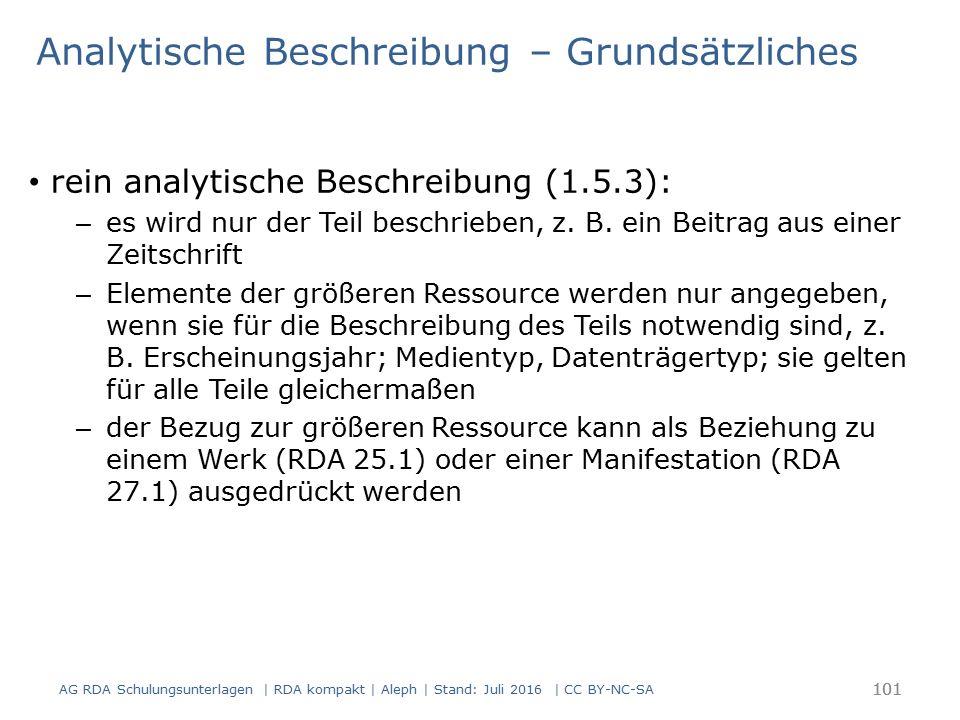 Analytische Beschreibung – Grundsätzliches rein analytische Beschreibung (1.5.3): – es wird nur der Teil beschrieben, z. B. ein Beitrag aus einer Zeit