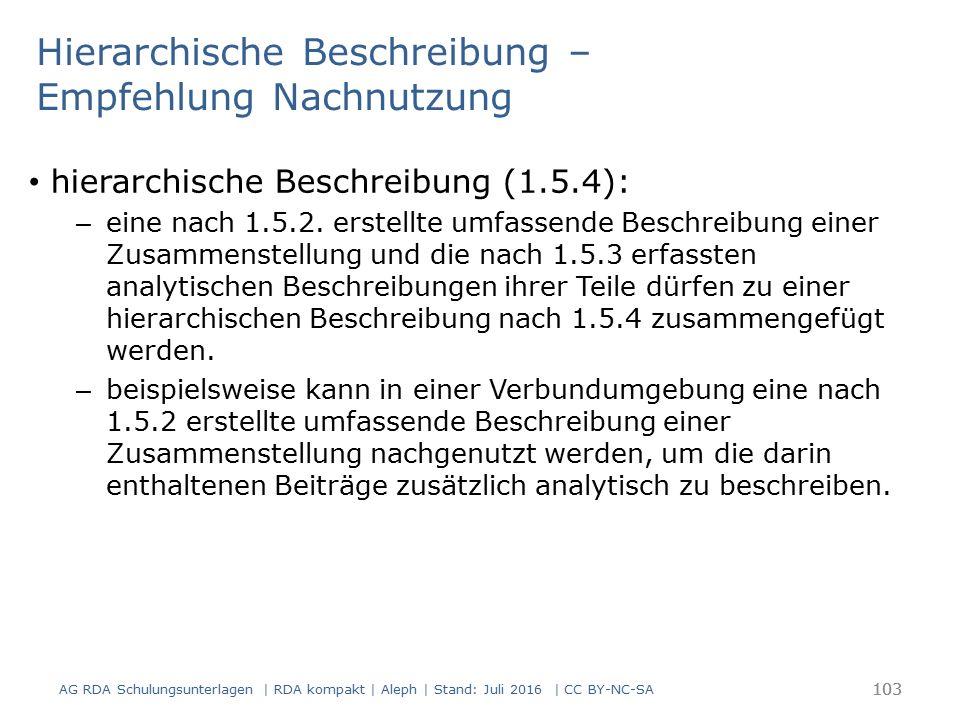 Hierarchische Beschreibung – Empfehlung Nachnutzung hierarchische Beschreibung (1.5.4): – eine nach 1.5.2. erstellte umfassende Beschreibung einer Zus