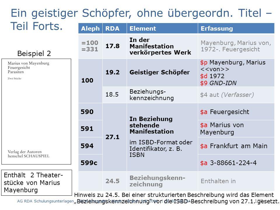 108 AlephRDAElementErfassung =100 =331 17.8 In der Manifestation verkörpertes Werk Mayenburg, Marius von, 1972-. Feuergesicht 100 19.2Geistiger Schöpf
