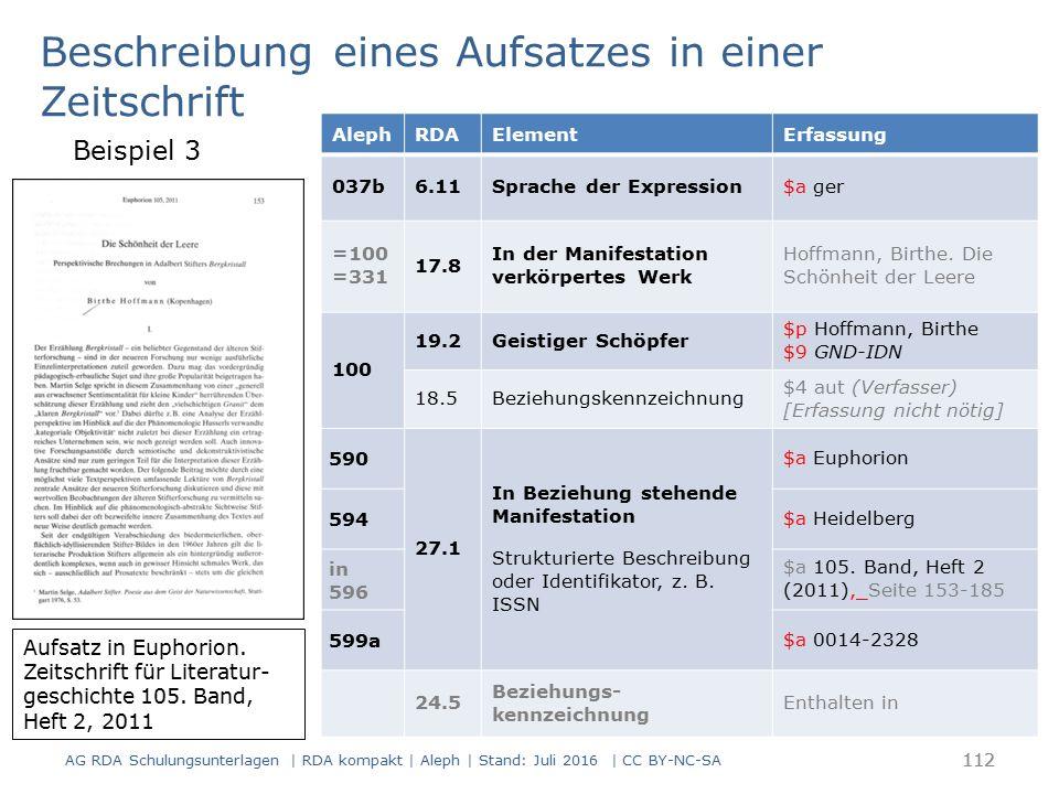 112 AlephRDAElementErfassung 037b6.11Sprache der Expression$a ger =100 =331 17.8 In der Manifestation verkörpertes Werk Hoffmann, Birthe.