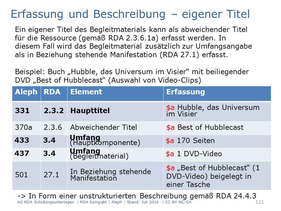 """AlephRDAElementErfassung 3312.3.2Haupttitel $a Hubble, das Universum im Visier 370a2.3.6Abweichender Titel$a Best of Hubblecast 4333.4 Umfang (Hauptkomponente) $a 170 Seiten 4373.4 Umfang (Begleitmaterial) $a 1 DVD-Video 50127.1 In Beziehung stehende Manifestation $a """"Best of Hubblecast (1 DVD-Video) beigelegt in einer Tasche Erfassung und Beschreibung – eigener Titel Ein eigener Titel des Begleitmaterials kann als abweichender Titel für die Ressource (gemäß RDA 2.3.6.1a) erfasst werden."""