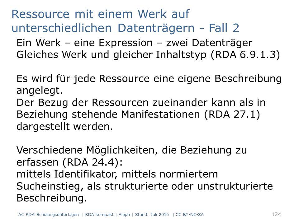 Ein Werk – eine Expression – zwei Datenträger Gleiches Werk und gleicher Inhaltstyp (RDA 6.9.1.3) Es wird für jede Ressource eine eigene Beschreibung