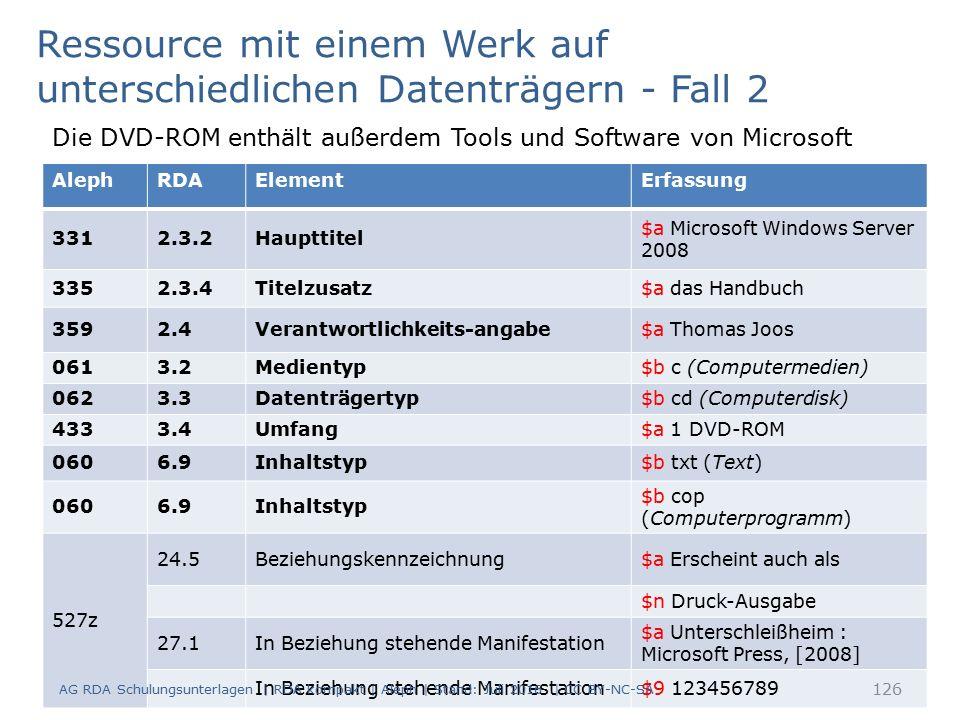 AlephRDAElementErfassung 3312.3.2Haupttitel $a Microsoft Windows Server 2008 3352.3.4Titelzusatz$a das Handbuch 3592.4Verantwortlichkeits-angabe$a Tho