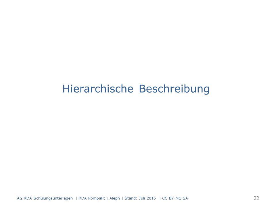 Hierarchische Beschreibung 22 AG RDA Schulungsunterlagen | RDA kompakt | Aleph | Stand: Juli 2016 | CC BY-NC-SA