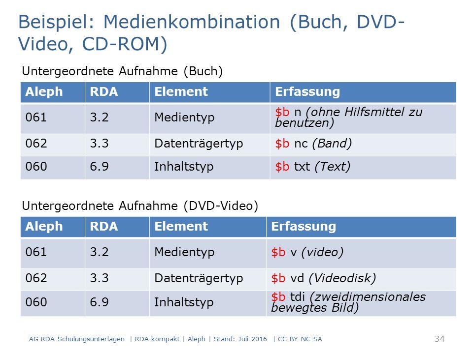 AG RDA Schulungsunterlagen | RDA kompakt | Aleph | Stand: Juli 2016 | CC BY-NC-SA 34 AlephRDAElementErfassung 0613.2Medientyp $b n (ohne Hilfsmittel zu benutzen) 0623.3Datenträgertyp$b nc (Band) 0606.9Inhaltstyp$b txt (Text) Beispiel: Medienkombination (Buch, DVD- Video, CD-ROM) Untergeordnete Aufnahme (Buch) AlephRDAElementErfassung 0613.2Medientyp$b v (video) 0623.3Datenträgertyp$b vd (Videodisk) 0606.9Inhaltstyp $b tdi (zweidimensionales bewegtes Bild) Untergeordnete Aufnahme (DVD-Video)