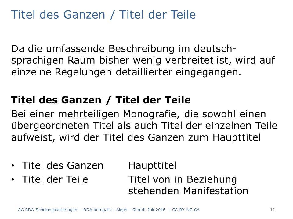 Titel des Ganzen / Titel der Teile Da die umfassende Beschreibung im deutsch- sprachigen Raum bisher wenig verbreitet ist, wird auf einzelne Regelunge