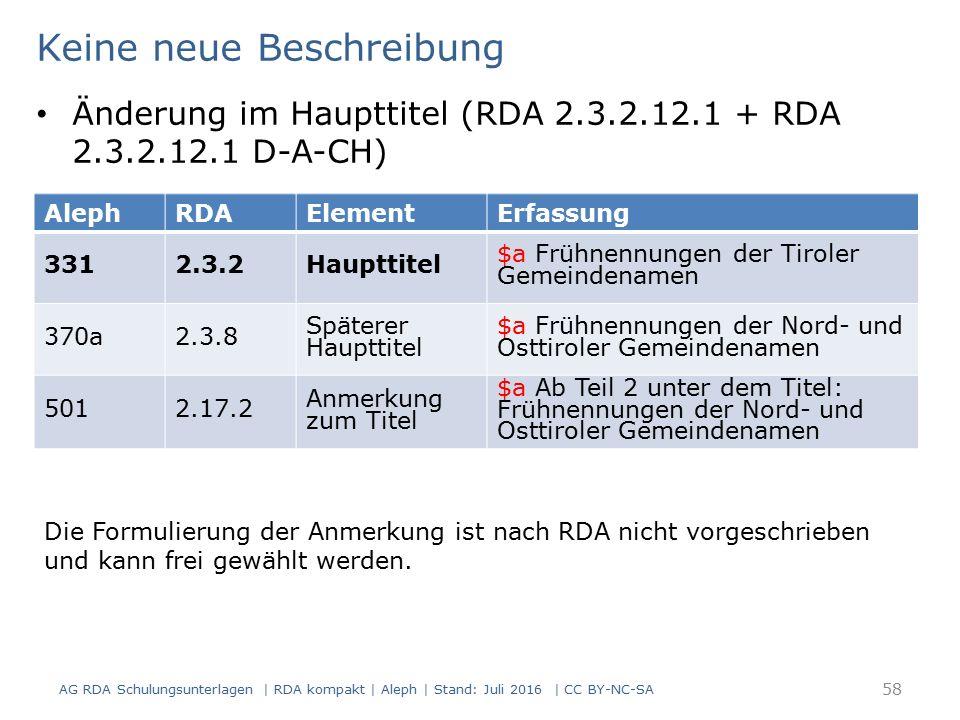 AG RDA Schulungsunterlagen | RDA kompakt | Aleph | Stand: Juli 2016 | CC BY-NC-SA 58 AlephRDAElementErfassung 3312.3.2Haupttitel $a Frühnennungen der