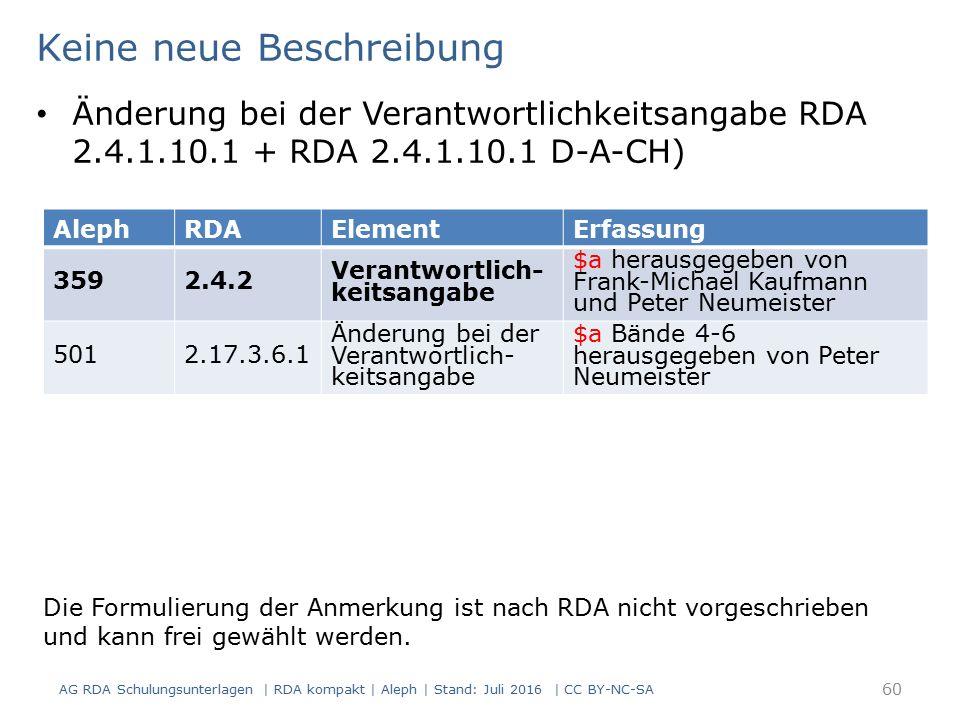 AG RDA Schulungsunterlagen | RDA kompakt | Aleph | Stand: Juli 2016 | CC BY-NC-SA 60 AlephRDAElementErfassung 3592.4.2 Verantwortlich- keitsangabe $a