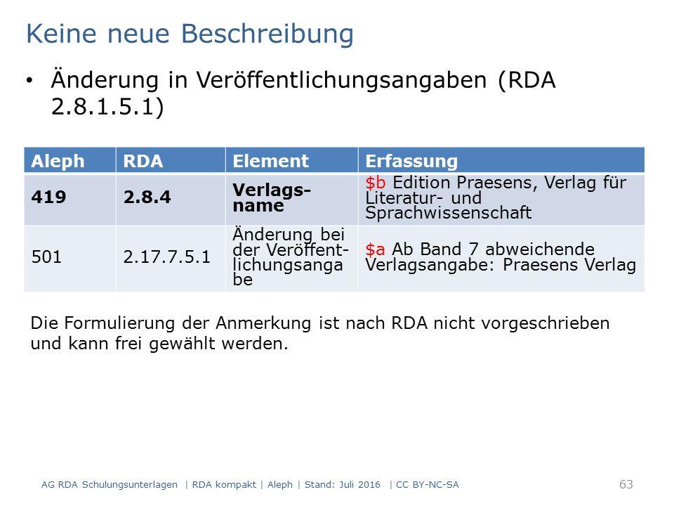 AG RDA Schulungsunterlagen | RDA kompakt | Aleph | Stand: Juli 2016 | CC BY-NC-SA 63 AlephRDAElementErfassung 4192.8.4 Verlags- name $b Edition Praese
