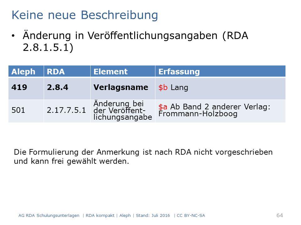 AG RDA Schulungsunterlagen | RDA kompakt | Aleph | Stand: Juli 2016 | CC BY-NC-SA 64 AlephRDAElementErfassung 4192.8.4Verlagsname$b Lang 5012.17.7.5.1 Änderung bei der Veröffent- lichungsangabe $a Ab Band 2 anderer Verlag: Frommann-Holzboog Keine neue Beschreibung Änderung in Veröffentlichungsangaben (RDA 2.8.1.5.1) Die Formulierung der Anmerkung ist nach RDA nicht vorgeschrieben und kann frei gewählt werden.