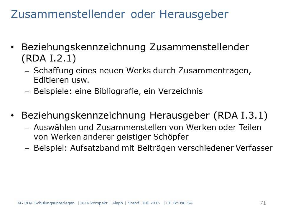 Zusammenstellender oder Herausgeber Beziehungskennzeichnung Zusammenstellender (RDA I.2.1) – Schaffung eines neuen Werks durch Zusammentragen, Editieren usw.