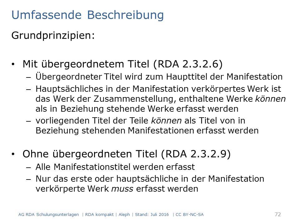 Umfassende Beschreibung Grundprinzipien: Mit übergeordnetem Titel (RDA 2.3.2.6) – Übergeordneter Titel wird zum Haupttitel der Manifestation – Hauptsä