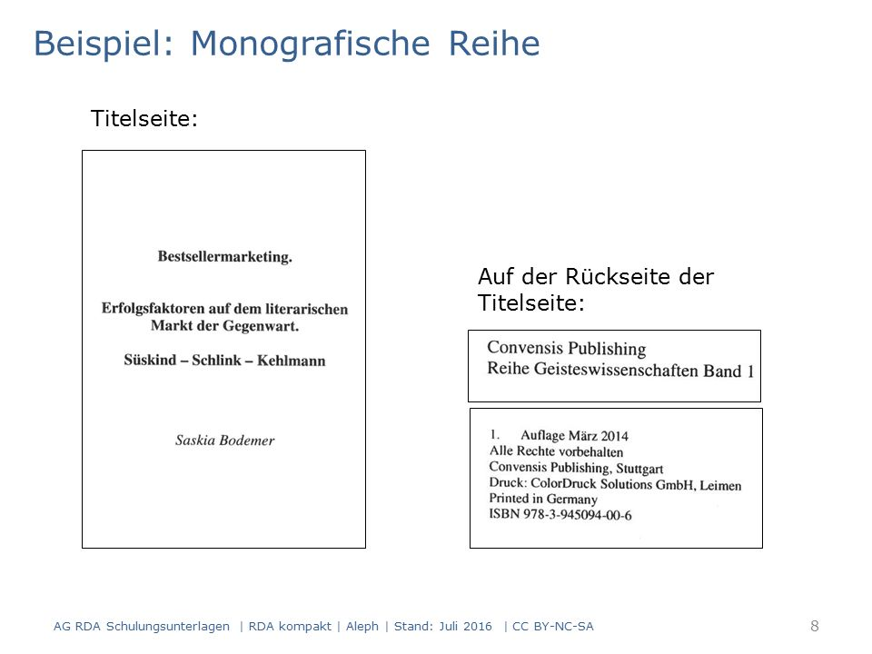 Beispiel im Überblick AG RDA Schulungsunterlagen | RDA kompakt | Aleph | Stand: Juli 2016 | CC BY-NC-SA 9 AlephRDAElementErfassung 3312.3.2Haupttitel$a Reihe Geisteswissenschaften 4052.6Zählung$a Band 1- 4192.8.2Erscheinungsort$a Stuttgart 2.8.4Verlagsname$b Convensis Publishing 2.8.6Erscheinungs- datum $c März 2014- 425b$a 2014 052, Pos.0 2.13Erscheinungs- weise r (Fortlaufende Ressource: Monografische Reihe) 052, Pos.8 2.14Erscheinungs- frequenz z (unregelmäßig)