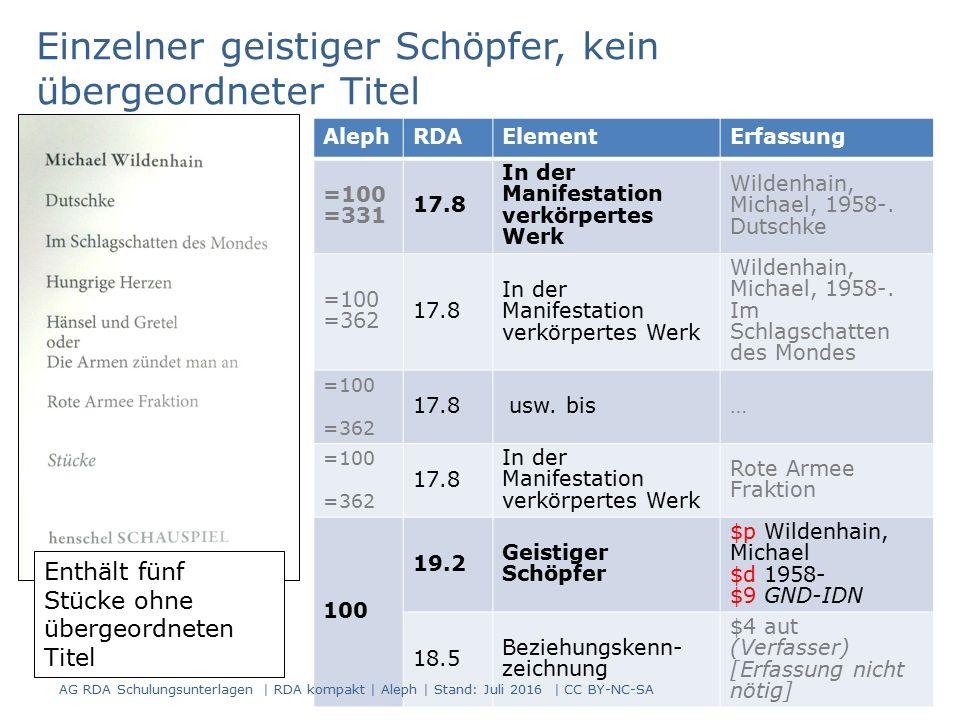 83 AlephRDAElementErfassung =100 =331 17.8 In der Manifestation verkörpertes Werk Wildenhain, Michael, 1958-.