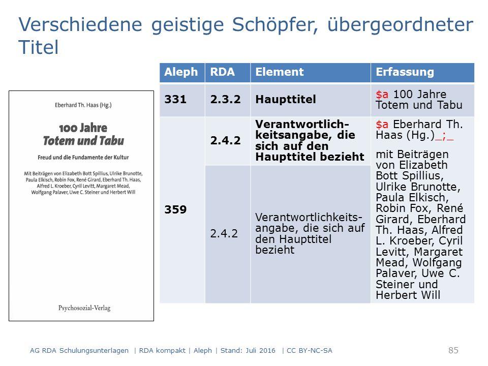 85 AlephRDAElementErfassung 3312.3.2Haupttitel $a 100 Jahre Totem und Tabu 359 2.4.2 Verantwortlich- keitsangabe, die sich auf den Haupttitel bezieht $a Eberhard Th.