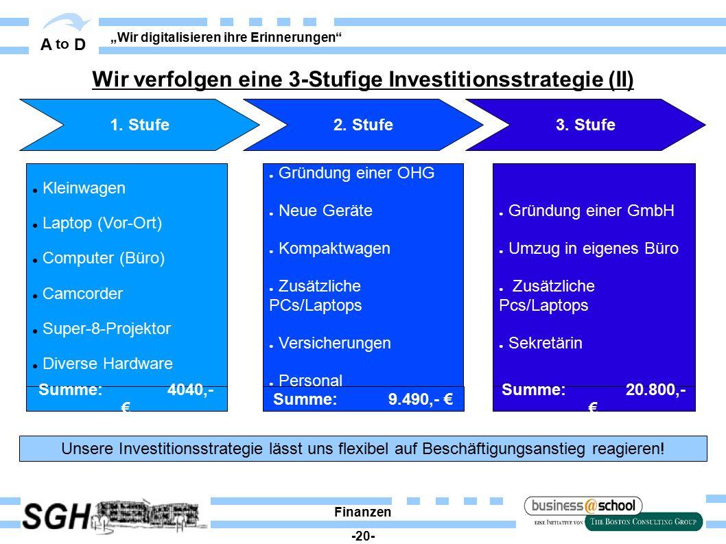 """A to D """"Wir digitalisieren ihre Erinnerungen"""" Finanzen -20- 2. Stufe3. Stufe1. Stufe Unsere Investitionsstrategie lässt uns flexibel auf Beschäftigung"""