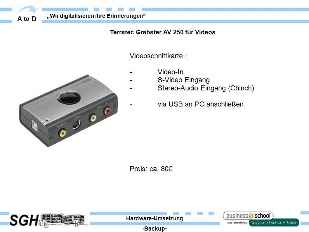 """A to D """"Wir digitalisieren ihre Erinnerungen"""" Videoschnittkarte : - Video-In -S-Video Eingang - Stereo-Audio Eingang (Chinch) - via USB an PC anschlie"""